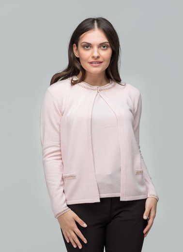 Silk and Cashmere Hırka Pembe